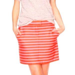 J. Crew Factory Pink Orange Striped Mini Skirt